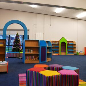 Library at Christmas time